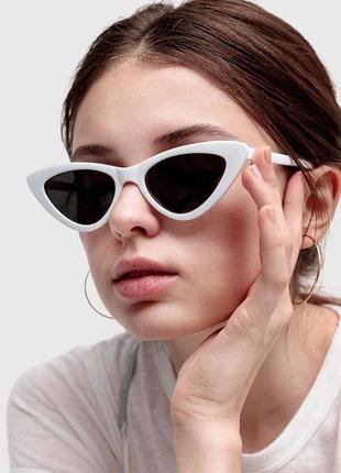 Очки окуляри солнцезащитные сонцезахисні тренд 2021 кошачий глаз белые