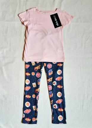 Комплект персиково серый лосины и футболка b.a.basic германия на 6 лет (116см)