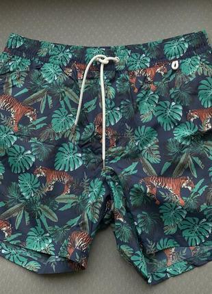 Пляжні шорти чоловічі зелені, в принт.