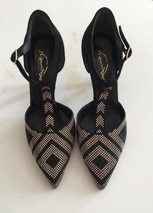 Туфли черно-золотые franco russo
