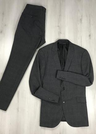 F0 n9 костюм темно-серый клетчатый в клетку приталенный пиджак/классические брюки next
