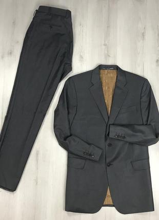F0 n9 костюм серый темный шерстяной приталенный пиджак/классические брюки paul costelloe