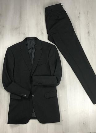 F0 n9 костюм темно-серый темный приталенный пиджак/зауженные брюки greenwoods