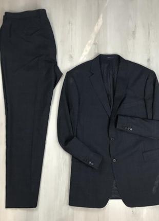 F0 n9 костюм  шерстяной клетчатый в клетку приталенный пиджак/классические брюки austin