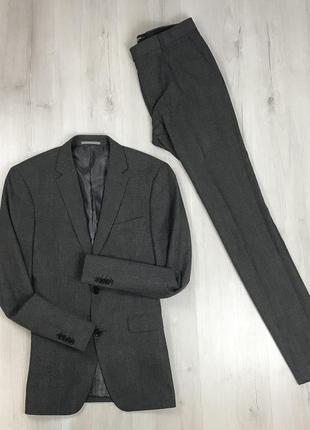 F0 n9 костюм темно-серый клетчатый в клетку приталенный пиджак/зауженные брюки cws