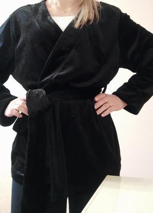 Бархатний велюровий пиджак блейзер жакет на запах
