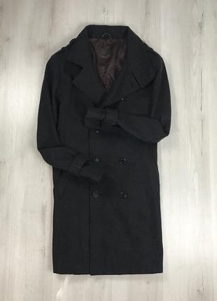 F9 пальто приталенное темное темно-серое полушерстяное двубортное удлиненное jeff banks