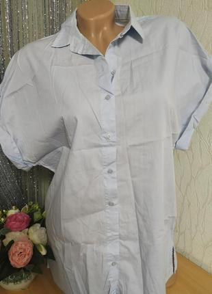 Стильная рубашка в нежно голубой расцветке,h&m,36/s,m