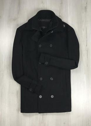 F9 пальто темное черное полушерстяное двубортное удлиненное george георг джордж
