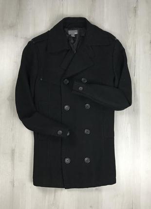 F9 пальто приталенное темное черное шерстяное двубортное удлиненное h&m