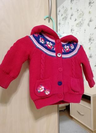 Яркая тепленькая вязанная куртка