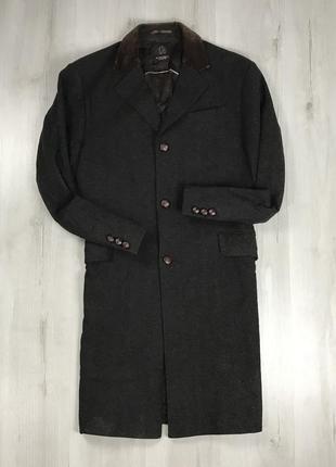 F9 пальто с вельветовым воротником темное длинное шерстяное в рисочку полоску george