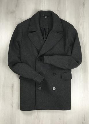 F9 пальто темно-серое двубортное мужское asos асос серая