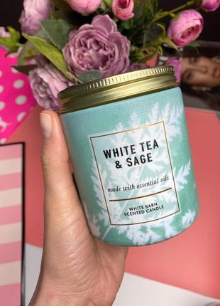 Ароматическая свеча на 1 фитель bath and body works white tea& sage
