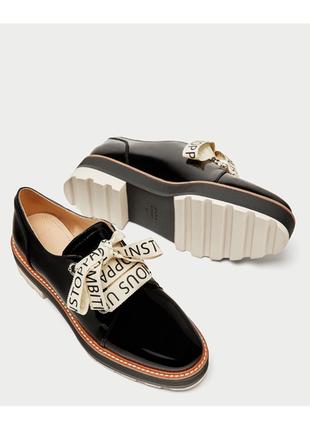 Лакированные лаковые ботинки броги туфли оксфорды лоферы зара zara