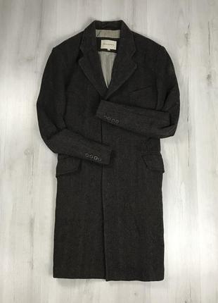F9 пальто rocha rohn темно-коричневое длинное удлиненное коричневое в рисочку полоску