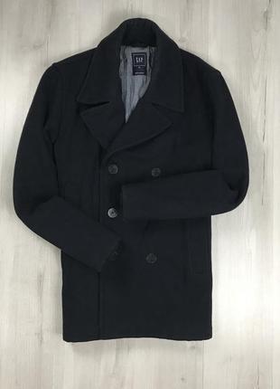 F9 пальто темно-синее темное однотонное плотное теплое удлиненное двубортное шерстяное gap