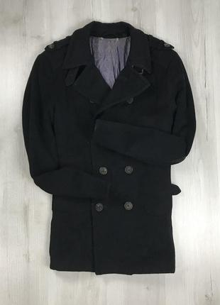 F9 пальто удлиненное темное черное двубортное приталенное шерстяное ted baker