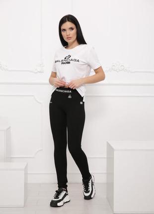 Практичный костюм лосины+футболка, р. s,m,l,xl, коттон, белый/черный