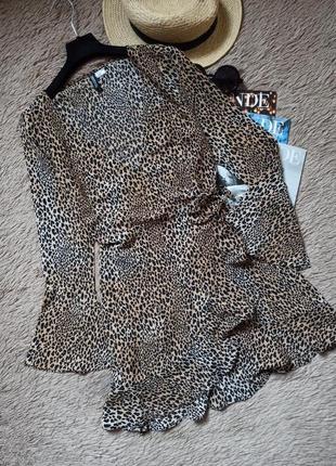 Шикарное платье на запах с рюшами леопард/плаття/сукня