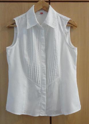 Супер брендовая белая блуза блузка рубашка  без рукавов лен