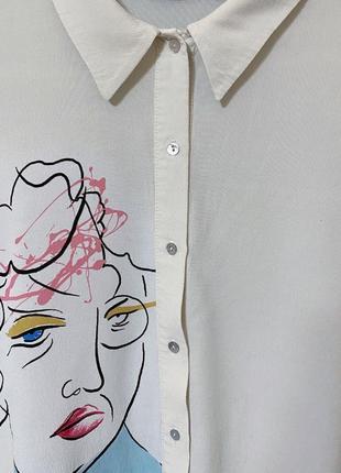 Zara рубашка женская с принтом