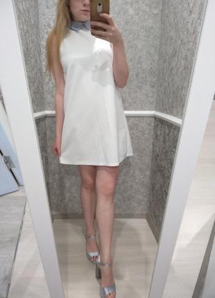 🎁1+1=3🎁🎁🎁 платье трапеция с контрастным воротником zara