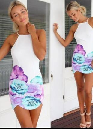 Платье супер мини в цветочек