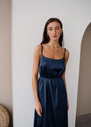 Платье миди шелковое комбинация на бретельках синее