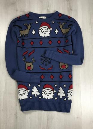 F7 свитер вязаный серый новогодний рождественский дедом морозом сантой catch 22