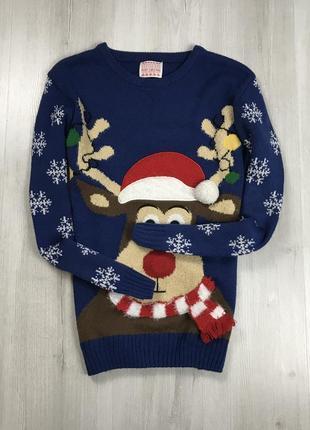 F7 свитер вязаный рождественский праздничный зимний с оленем синий 3d george