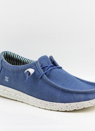 Мужские туфли, мокасины слипоны премиум ziano h006037р. 40-46р. голубые