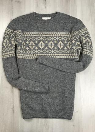 F7 свитер вязаный в ромб серый бежевый f&f кофта пуловер джемпер