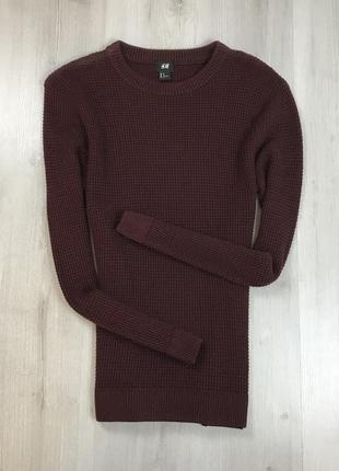 F7 свитер вязаный темно-красный бордовый темный h&m кофта пуловер джемпер