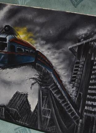 Картина в темных тонах поезд