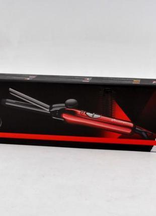 Утюжок для волос профессиональный проводной 2 в 1 progemei gm-2906 с насадкой щеткой