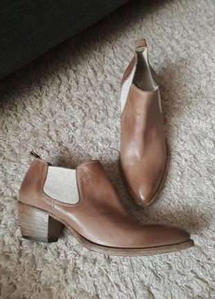 Кожаные шкіряні итальянские эксклюзивные ботинки челси ботильоны ручной работы fru.it