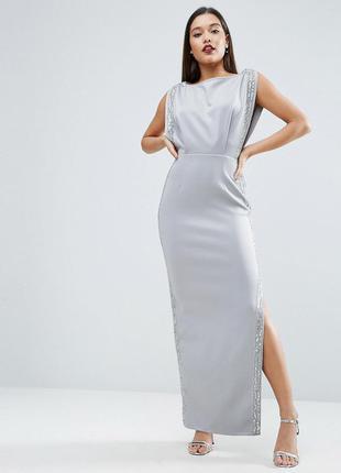 Asos роскошное серое макси-платье