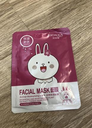 Тканевая маска-салфетка с экстрактом цветков вишни {зайка} fasial animal mask