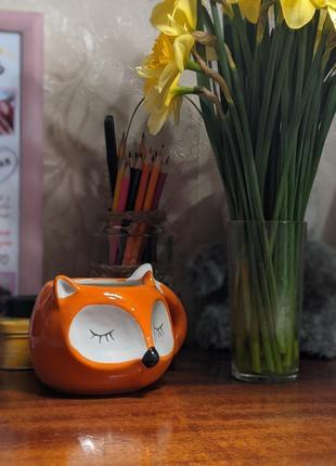 Кружка лисичка, лиса, чашка в форме лисы, подарок, керамическая кружка