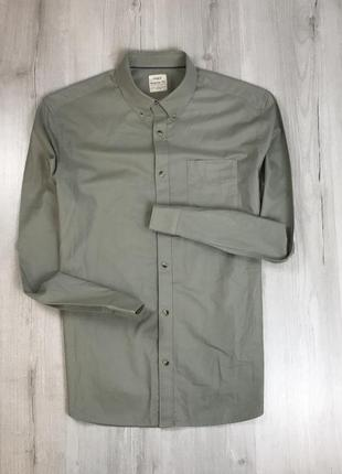 Z7 рубашка приталенная зеленая салатовая оливковая хаки коричневая m&s