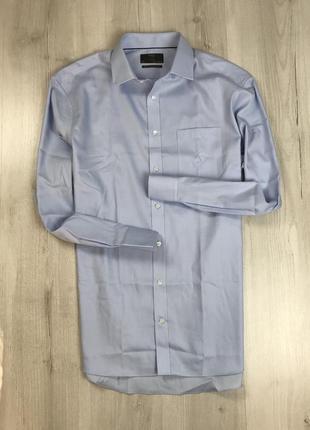 Z7 рубашка приталенная однотонная голубая светлая классическая синяя m&s