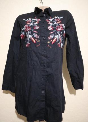 Классная вышитая туника-рубашка primark размер s