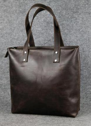 Кожа. ручная работа. вместительная коричневая кожаная сумка шопер.