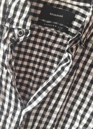 Рубашка в клетку/ черно белая рубашка