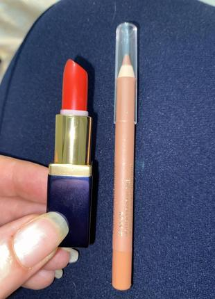 Набор мини estée lauder мини помада +карандаш для губ полный размер