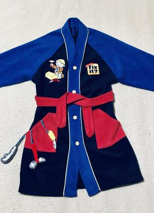 Флисовый халат с вышивкой и инструментами для мальчика bhs (англия)