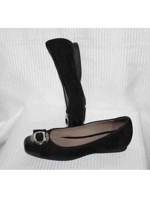 Замшевые туфли балетки лодочки чёрный замша кожа geox 36р