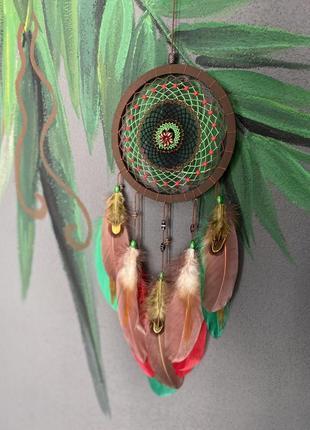 """Ловец снов """"тропики"""". оригинальный подарок ручной работы. декор на стену. оберег."""