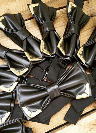 Галстук-бабочка черный кожаный с уголками / метелик чорний шкіра